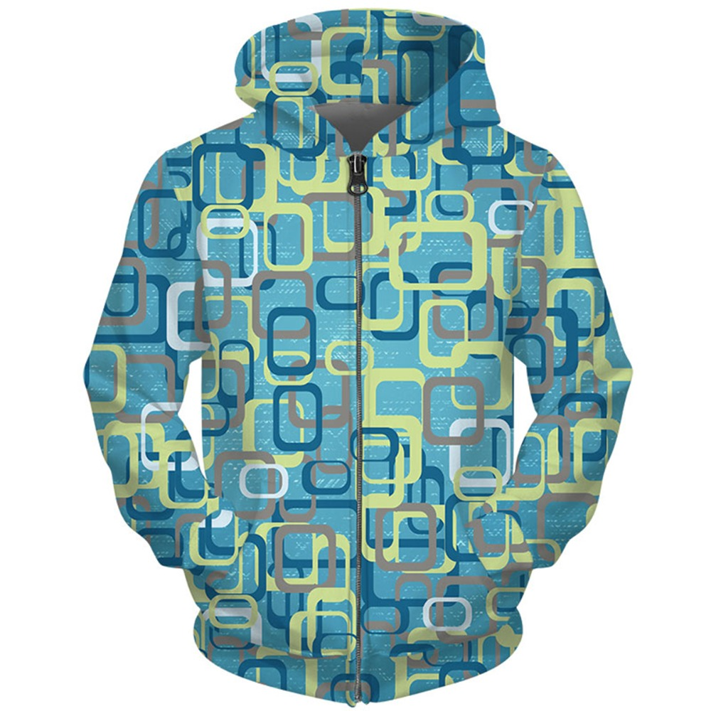 Cloudstyle Own Design Mens Sweatshirts 3D Full Print Square Sea Zip Up Hoodies Fall Winter Loose Tracksuits Fashion Zipper Hoody