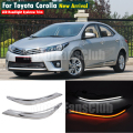 LED Head Light Eyebrows Trim Lamp Bezel Cover Headlight DRL For Toyota Corolla 2014 2015 With Turn Signal