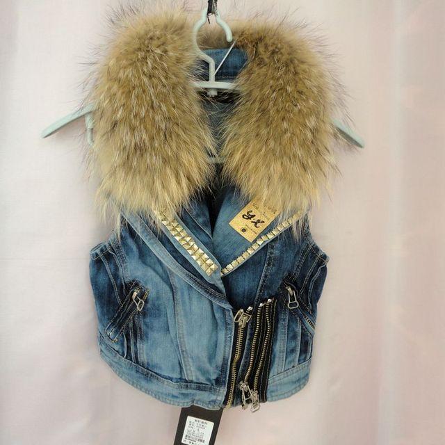 Бесплатная доставка новый женский ковбой жилет с подлинная реального ракун меховым воротником джинсы Эксклюзивные специальные зимние секс пальто куртки