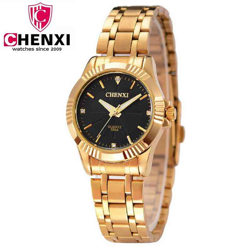 NATATE Golden Clock Gold Fashion Women Watch Full gold Stainless Steel Quartz Watches Wrist Watch Groothandel CHENXI Gold Watch