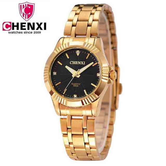 8c57207e Natate, золотые часы, золотые модные женские часы полный золота нержавеющей  стали кварцевые часы наручные
