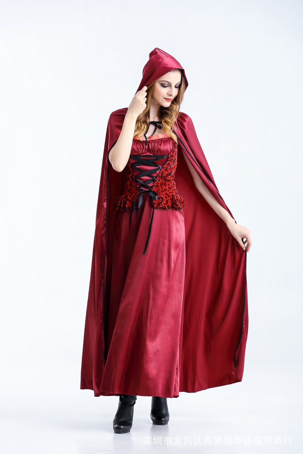 Little red riding hood Cosplay Long Skirt Gown Rode Evening Dress Medieval Women's Dreee Costume The vampire Long skirt Queen