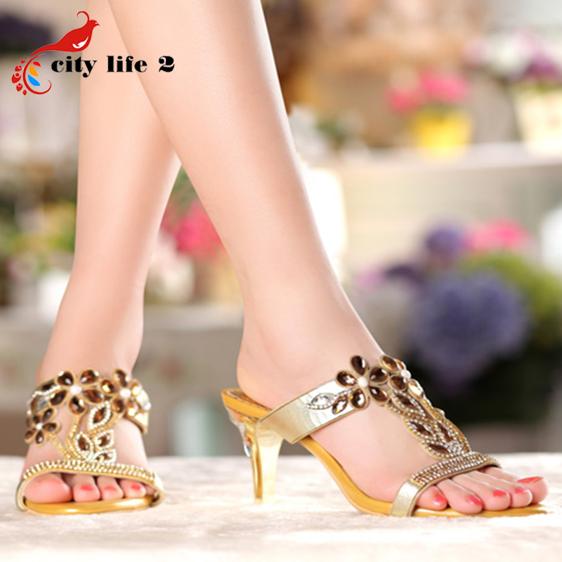 Rhinestone High Heel Sandals Plus Size 40 41 Summer 2016 Sexy Leather Diamond Fashion Slippers Female