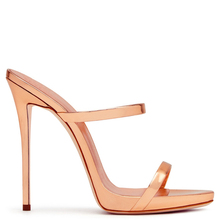 2017 Women Two Straps High Heels Rose Gold Patent Leather Strappy Sandals Ladies Cute Shoes Sexy Mules Stiletto Dress Shoes