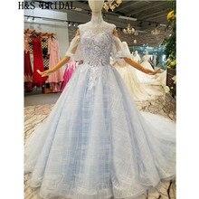 8c1c68146b H   S BRIDAL kolor światła suknie ślubne z krótkim rękawem cekinami suknia  ślubna vestido de noiva 2019