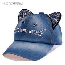 Summer Baseball Cap Children Cat Ears Rhinestone Sun Cowboy Hat Snapback Cap For Boy Girls Casual Cap Bone Gorro