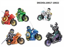 Decool Ninjagoes Kai Jay Cole Zane Lloyd Lord Garmadon with Motorcycle Building Block Set Kids Toy legoe Compatible 10017-10022