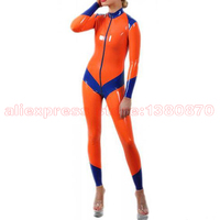 Rubber Latex Catsuit Orange And Blue Strips Rubber Bodysuit LC194