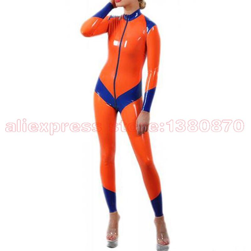 Rubber Latex Catsuit Orange and Blue Strips Rubber Bodysuit S-LC194