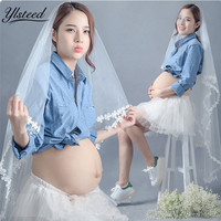 Maternity Photography Props Pregnant Shirts White Skirt Set Maternity Photography Clothing Pregnancy Clothes For Photo Shooting