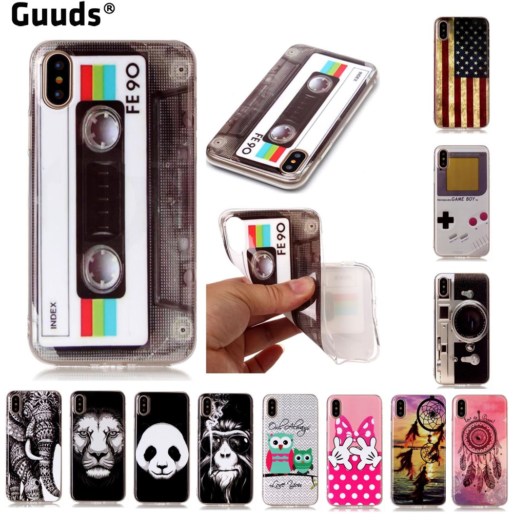 GUUDS for iPhone X 10 ten 7 7Plus 6s Phone Coque TPU Cases IMD Soft TPU Back Cover for iPhone X(5.8 inch) FREE SHIPPING