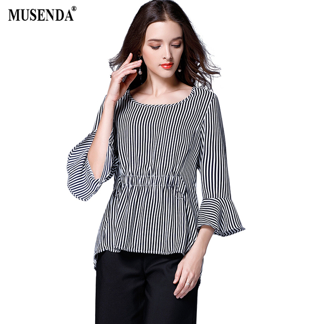eadf68e8368 MUSENDA Plus Size Women Chiffon Royal Blue Striped Tunic Blouse 2017 Summer  Lady Fashion Casual Brief