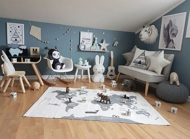 90cm*140CM Mother Care Baby Play Mat World Map Baby Blanket Winter Kids Floor Play Mat Travel Carpet
