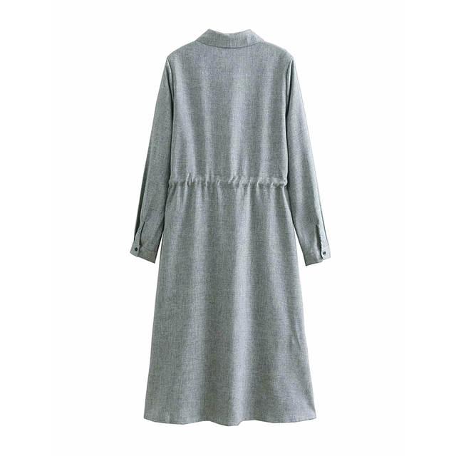 2a7e5f11d5b3f JuneLove Women Spring Long Sleeve Shirts Dress Vintage Lace-Up Female  Elastic Midi Dress Casual Street Wear Lady A-Line Dresses