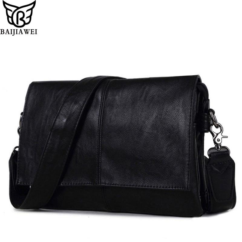 BAIJIAWEI New Arrival Men Leather Shoulder Bag Envelope Style Bag Large capacity Messenger Bags High Quality