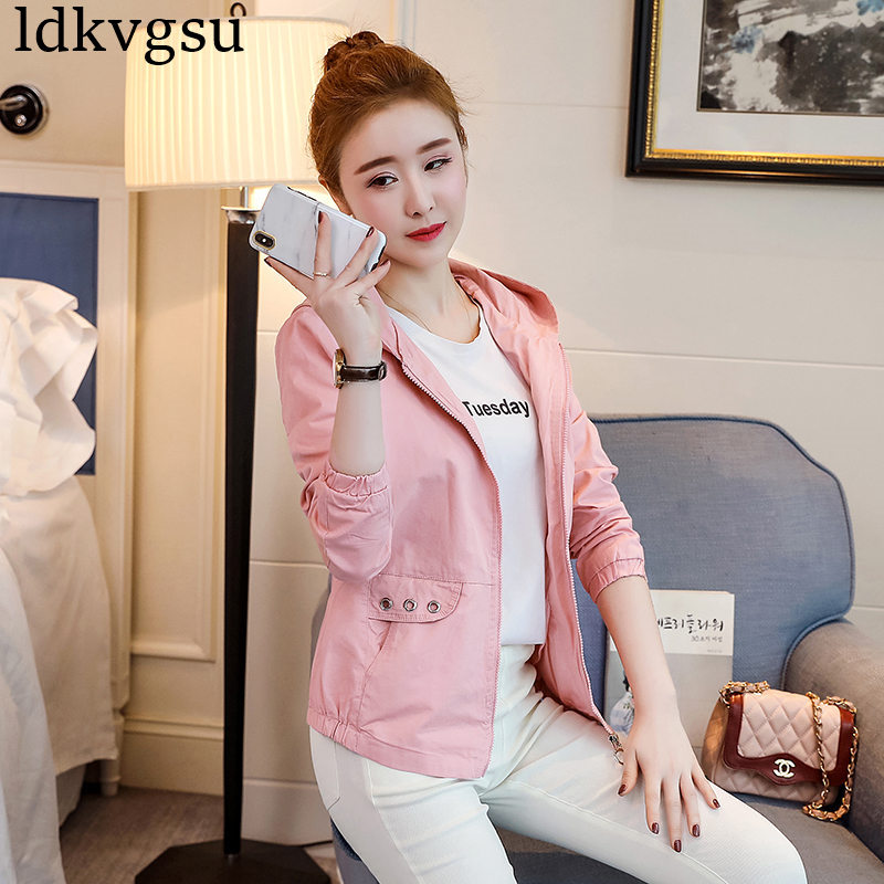 2018 Spring Autumn New Fashion Casual Long-sleeved Hooded Short Jacket Female Windbreaker Korean Slim Coats Girls Tops A717