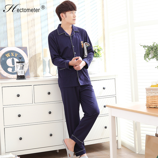 2017-Men 's new long - sleeved cotton trousers printed characters to increase fat yards plus pajamas suit R208