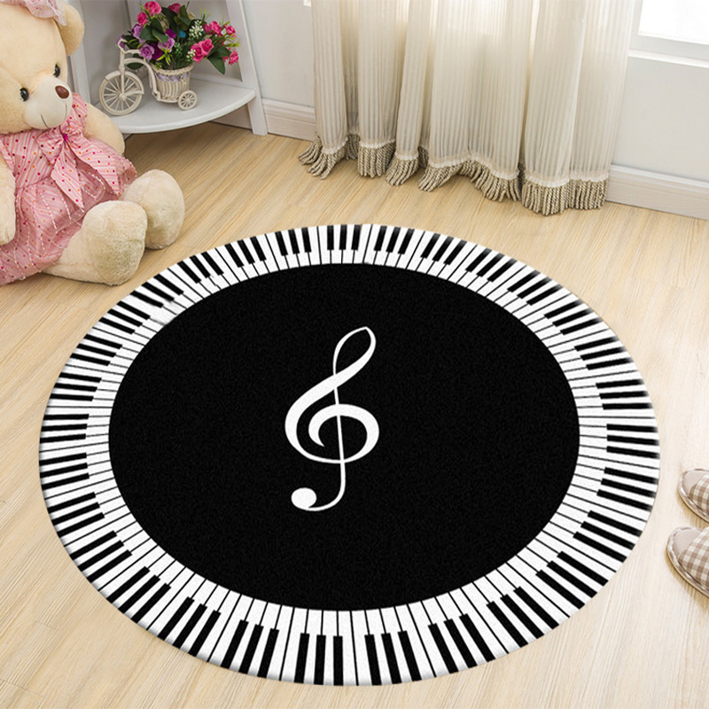 Round Carpet New Piano And Keyboard Round Carpets For Living Room Home Area Rugs For Bedroom Kids Cartoon Computer Chair DoorMat