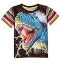 Nova дети новый дизайн лето мальчик одежды одежда с коротким рукавом печатных животных красочный полосатый мальчик футболку 2015