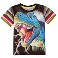 Nova crianças mais novo projeto do verão roupas roupas menino de manga curta impresso animal colorido listrado t-shirt do menino 2015