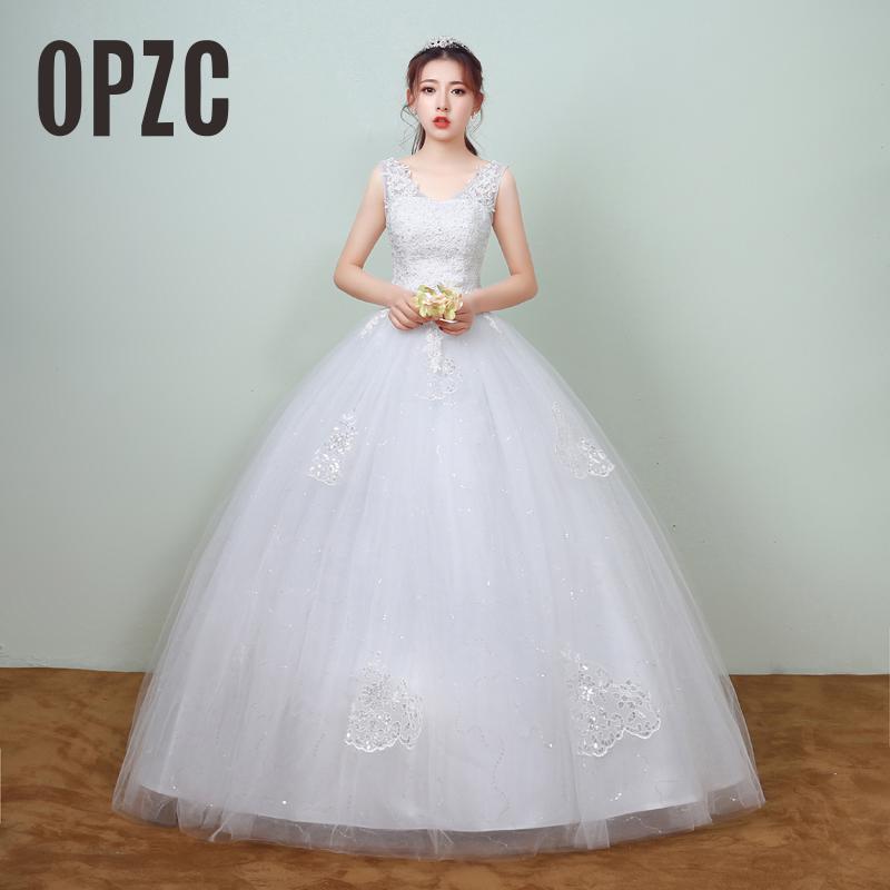 Hot Sale Elegant Princess Lace Appliques Spring Smiple Wedding Dresses 2018  New Korean Style Bridal Gowns vestidos de noiva-in Wedding Dresses from  Weddings ... 7bfabc35c3b3