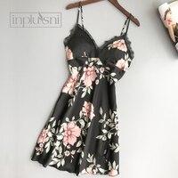 Inplusni women nightgown Chinese style four season with chest pad ice silk nightdress sense lace print camisole night dress robe