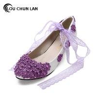 LOUCHUNLAN Mor Nedime Ayakkabı kadın Ayakkabı Düşük Topuklu Dantel El Yapımı Çiçek yumuşak taban Gelinlik Ayakkabı Kadın Düğün Ayakkabı