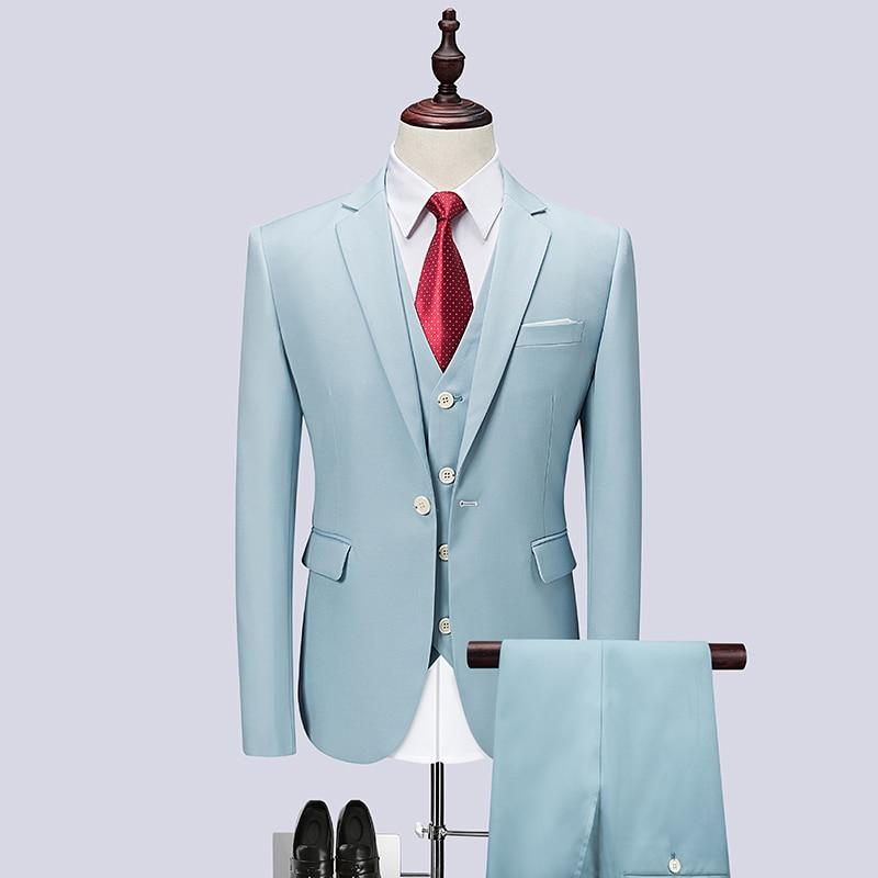 2019 New Suits blazers pant set 3 pieces Men Suit for wedding sky blue suits sets plus size 6XL costume homme terno masculino