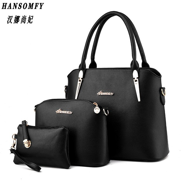 HNSF 100% Genuine leather Women handbag 2017 New Three piece type fashion Crossbody Shoulder Handbag women messenger bags