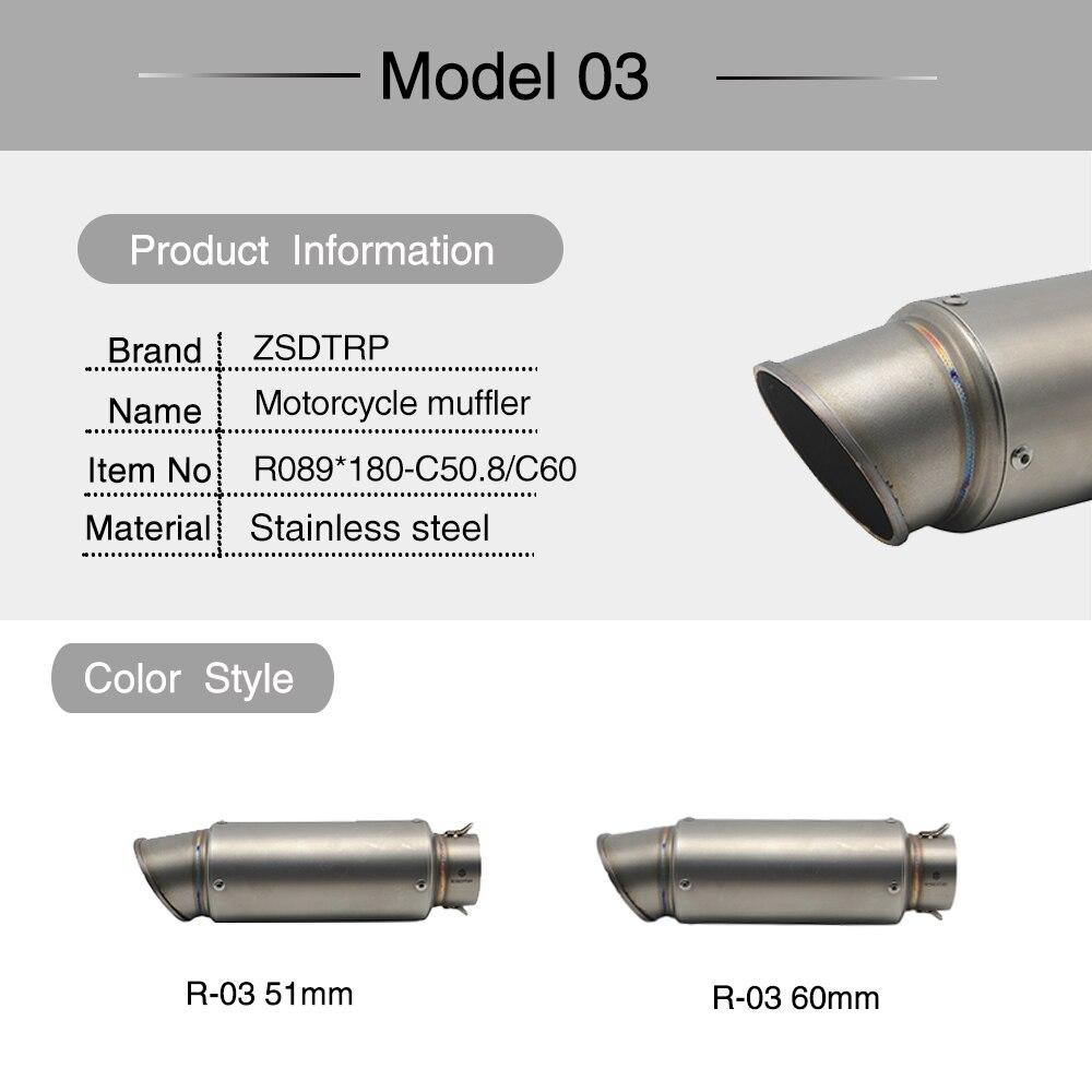 ZSDTRP universel 60mm modifié 51mm SC tuyau d'échappement de moto silencieux en Fiber de carbone tuyau d'échappement pour S1000RR R6 ER6N R1 CBR 300 - 4