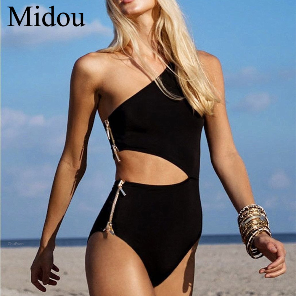 Midou Zipper One Shoulder Swimwear women Swimsuit Sexy Bathing Suit Black Whitem and Red Female One Pieces  Swimsuit Women Wear Купальник