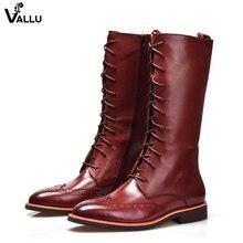 Wingtip перфорированные Ботинки-броги Для мужчин британский Модные ажурные ботинки martin из натуральной кожи на шнуровке 2018 Новый мужской длинный Сапоги для верховой езды