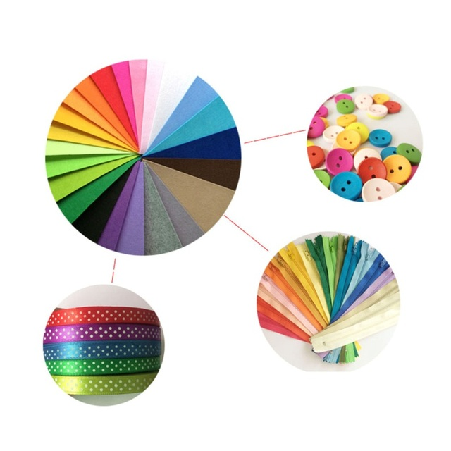 40pcs 20x10cm Non-woven Felt Fabric 1mm Polyester Cloth Felts DIY Bundle For Apparel Sewing Dolls Crafts Multi-color 1