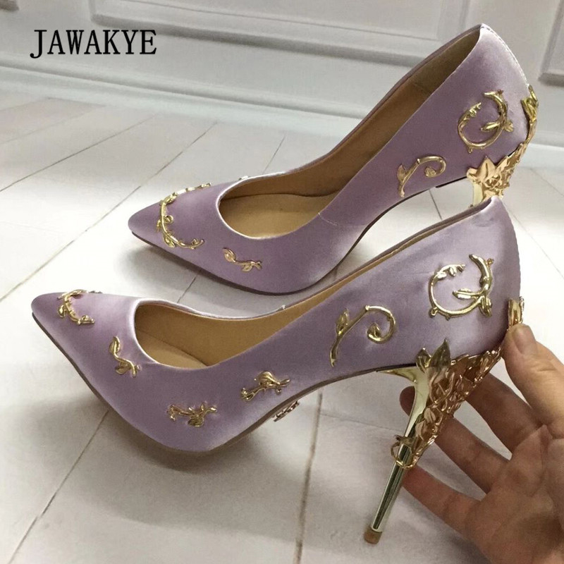 Newest Luxury Satin High Heel Shoes Woman Pointed Toe Metal Branch Decor Strange Metal Heel Pumps Women Wedding Shoes