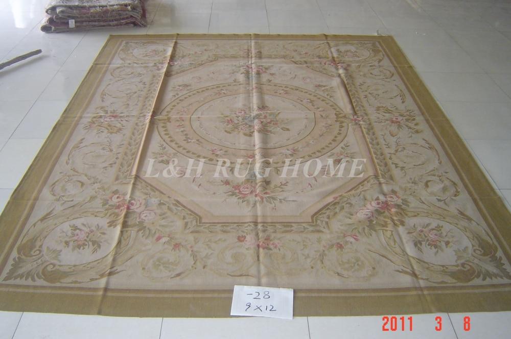 Livraison gratuite 9'x12' style français aubusson tapis noués à la main tapis en laine français Aubusson tapis de haute qualité