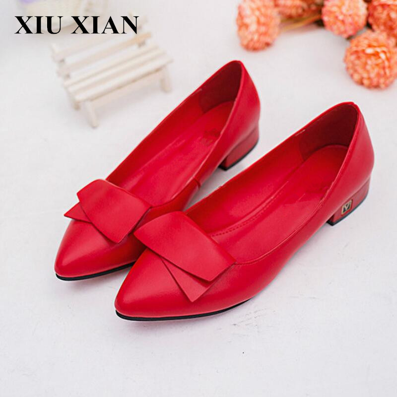 2017 Spring Autumn Women Red Pointed Toe Flats Shoes Comfortable Ballet Flats Ladies Low Heel Loafers