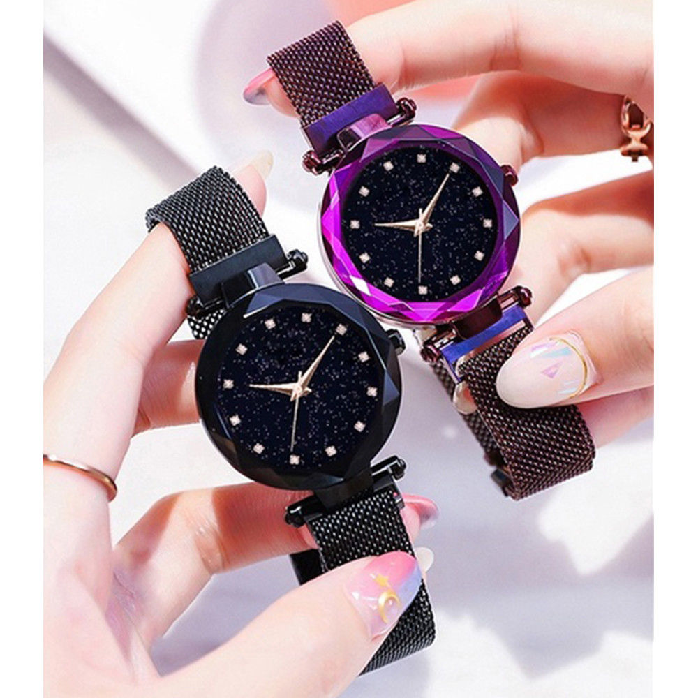 Starry Background Ladies Quartz Watch Galaxy Dial Star Space Pattern Analog Wrist Watches Metal Strap Magnet Clasp WatchStarry Background Ladies Quartz Watch Galaxy Dial Star Space Pattern Analog Wrist Watches Metal Strap Magnet Clasp Watch