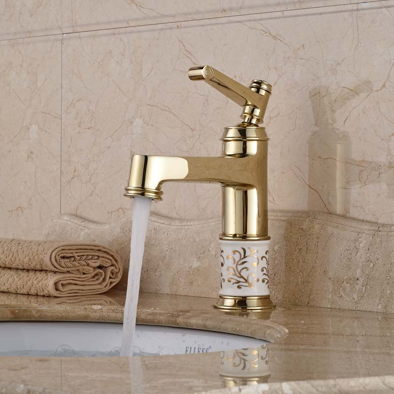 Free Shipping Luxury Deck Mount Single Lever Basin Mixer Faucet Gold Finish Bathroom Sink Faucet ems dhl free shipping gold finish bathroom sink beauty faucet gold clour sink faucet artistic basin faucet luxurious faucet