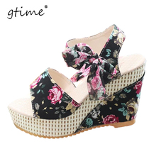 GTIME 2017 newest style women wedge sandals bow-knot lace-up cutouts women sandals platform peepp toe sandals # ZWB147