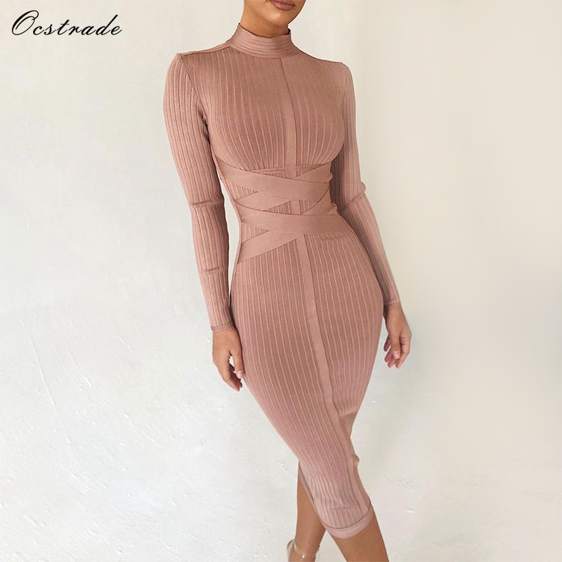 Ocstrade Bodycon Dress 2019 Nude Turtleneck Rayon Long Sleeve Bandage Dress High Quality Ribbed Womens Midi