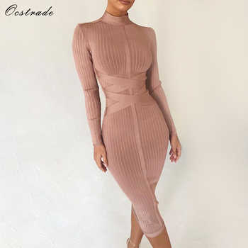 Ocstrade Bodycon Dress 2019 Nude Turtleneck Rayon Long Sleeve Bandage Dress High Quality Ribbed Womens Midi Bandage Dress Sexy - DISCOUNT ITEM  38% OFF All Category