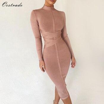 Ocstrade Bodycon Dress 2020 Nude Turtleneck Rayon Long Sleeve Bandage High Quality Ribbed Womens Midi Sexy
