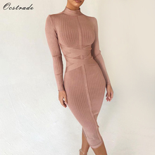 Ocstrade Bodycon Dress 2020 누드 터틀넥 레이온 긴 소매 붕대 드레스 고품질 늑골이있는 여자 미디 붕대 드레스 섹시한