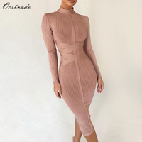 Ocstrade Bodycon Dress 2019 Nude Turtleneck Rayon Long Sleeve Bandage Dress High Quality Ribbed Womens Midi Bandage Dress Sexy