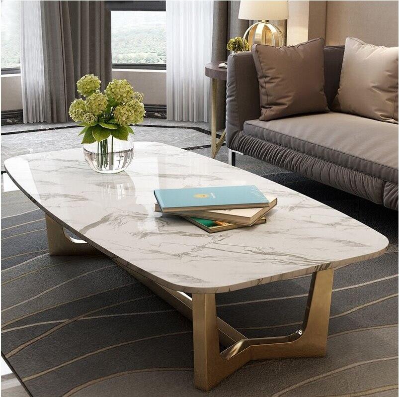 Table basse de 45 cm de hauteur avec cadre en acier inoxydable finition dorée/grande Table basse avec dessus en marbre 120x60 cm ou 180x100 cm