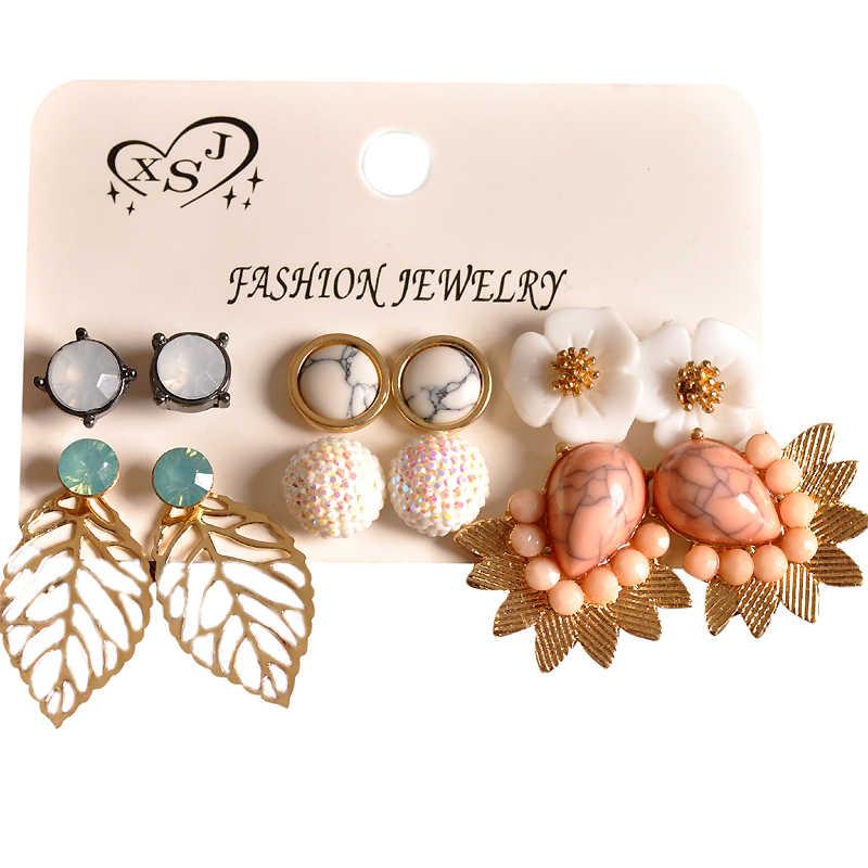 新ファッション女性アクセサリー卸売女の子パーティー耳スタッド美しいミックスとマッチ 6 ペア/セットイヤリングクリスマスギフト