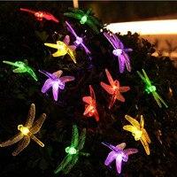 الشمسية بدعم أضواء اليعسوب 6 متر 30 المصابيح في سلسلة النجوم الإضاءة زينة للمنزل حديقة ضوء