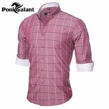 Ponigalant азиатский camisa masculina плед рубашки качества высокого одежды длинным марка