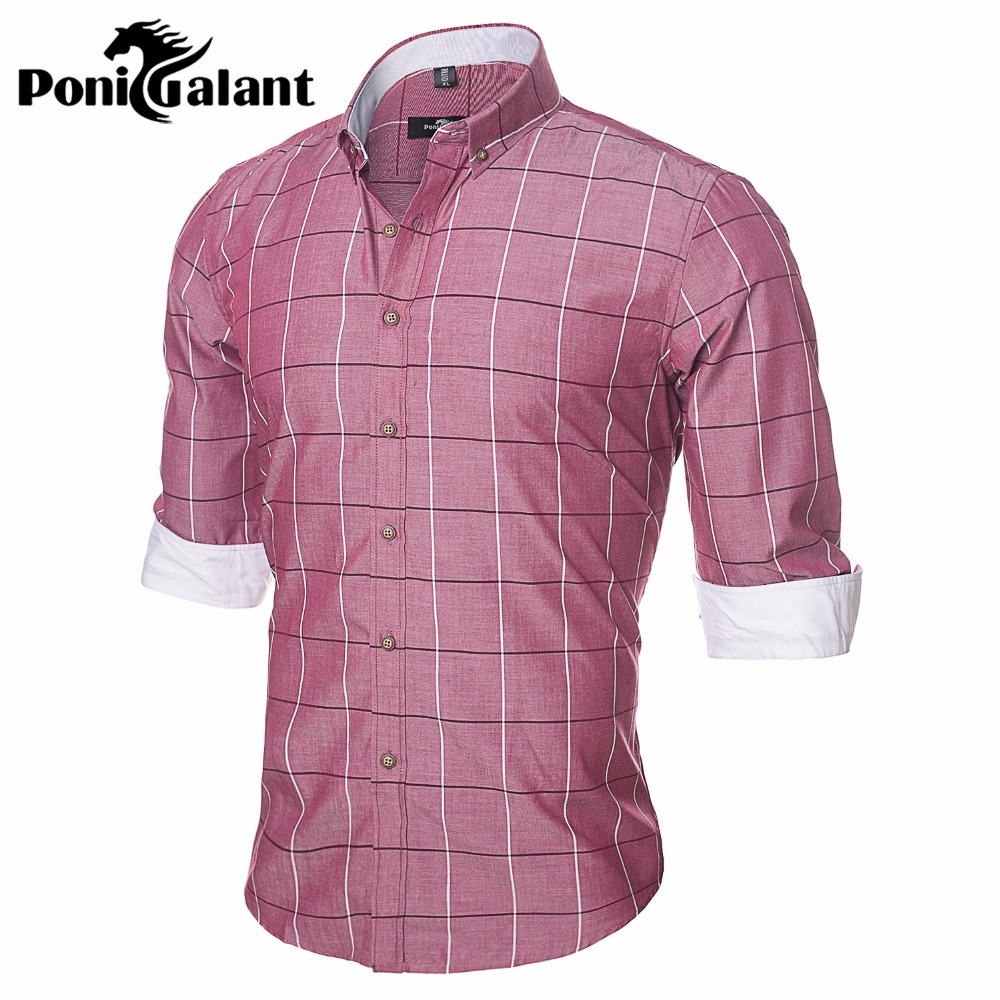 Ponigalant brand 100 cotton plaid men shirt high quality for Mens dress shirt sleeve length