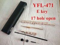 Топ из натуральной Новый флейта YFL 471 музыкальный инструмент 17 отверстие E открытого ключа музыка с основной Флейта с серебряным покрытием с